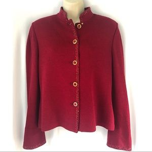 St. John Evening Red Embellished Cardigan Sweater
